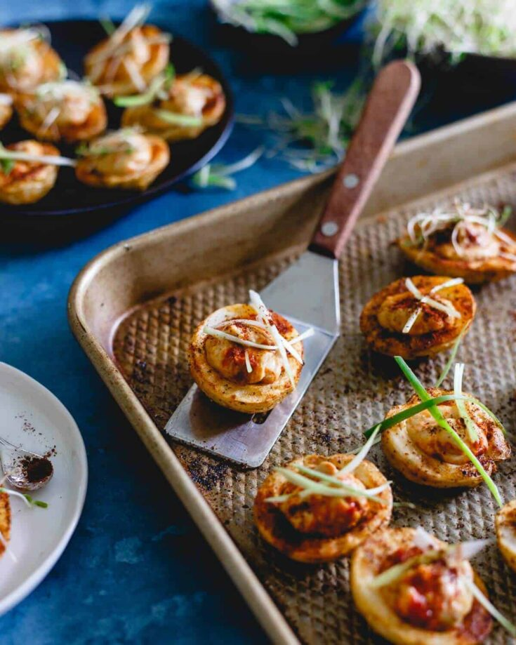 Spicy Hummus Stuffed Roasted Potato Cups