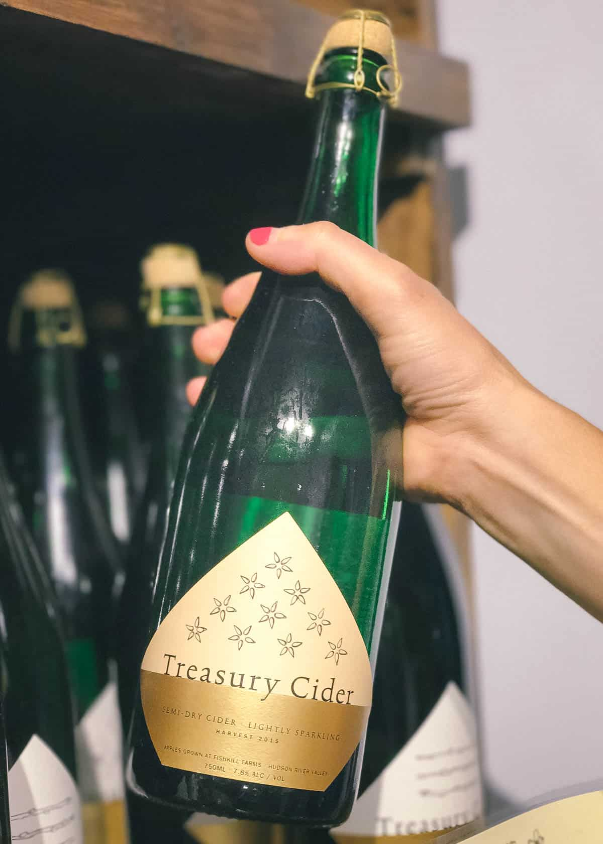 Treasury Cider, local to the Hudson Valley, is a semi-dry cider perfect for blending up with strawberries and basil for these easy cider slushies.