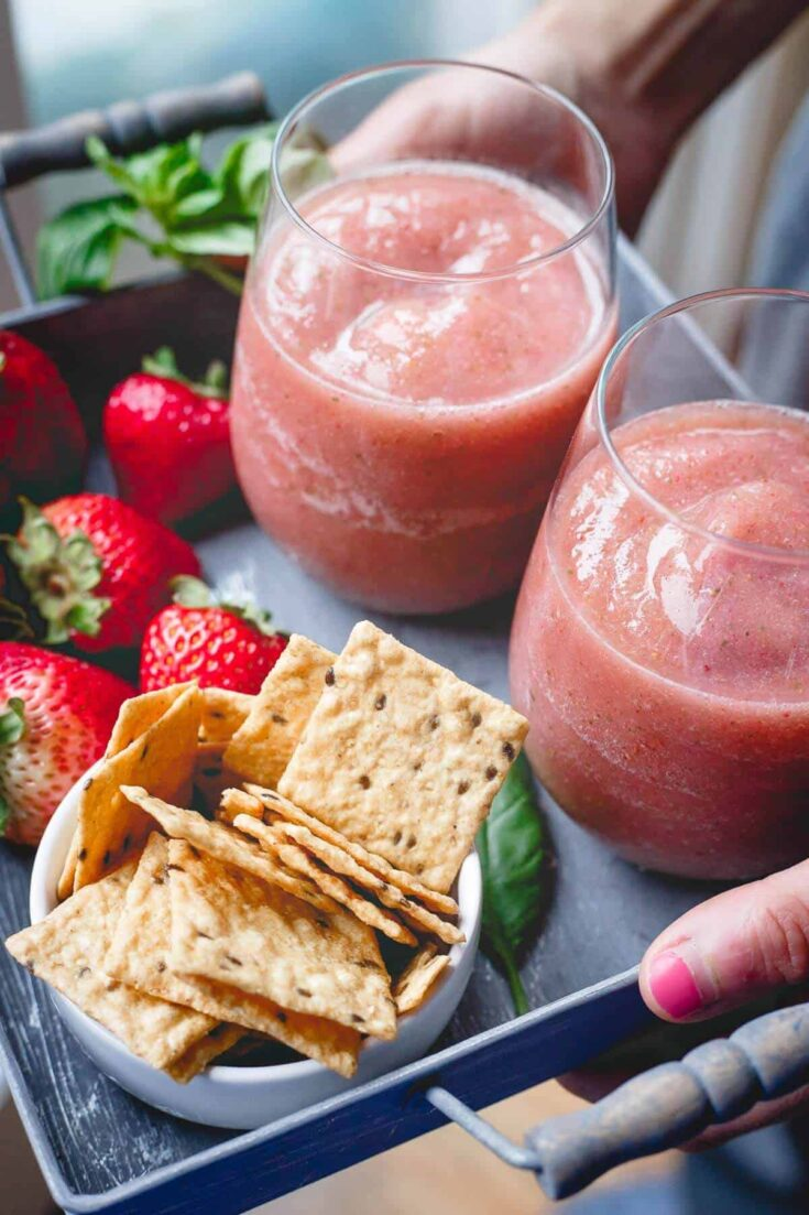 Strawberry Basil Cider Slushies