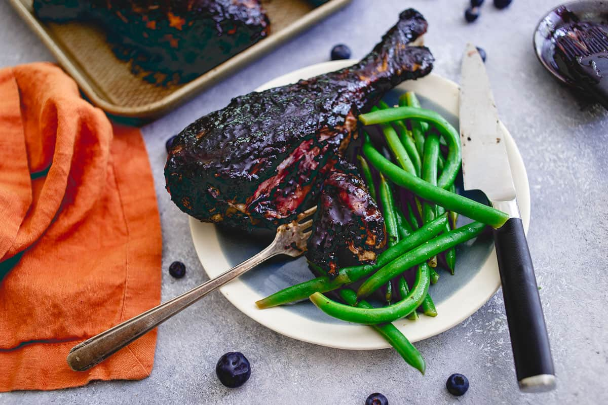 Make your own blueberry balsamic BBQ sauce this summer, a great addition to any meat but especially these satisfying turkey legs.