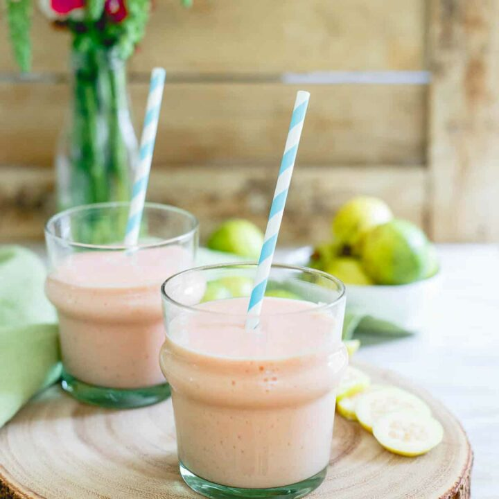 This simple guava pineapple smoothie is made with light coconut milk and a few frozen strawberries for a refreshing dairy-free summer drink.