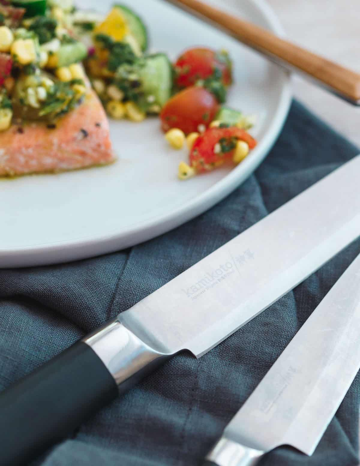 Kamikoto knives are the perfect tool to prepare this seared salmon with tomato corn salsa.