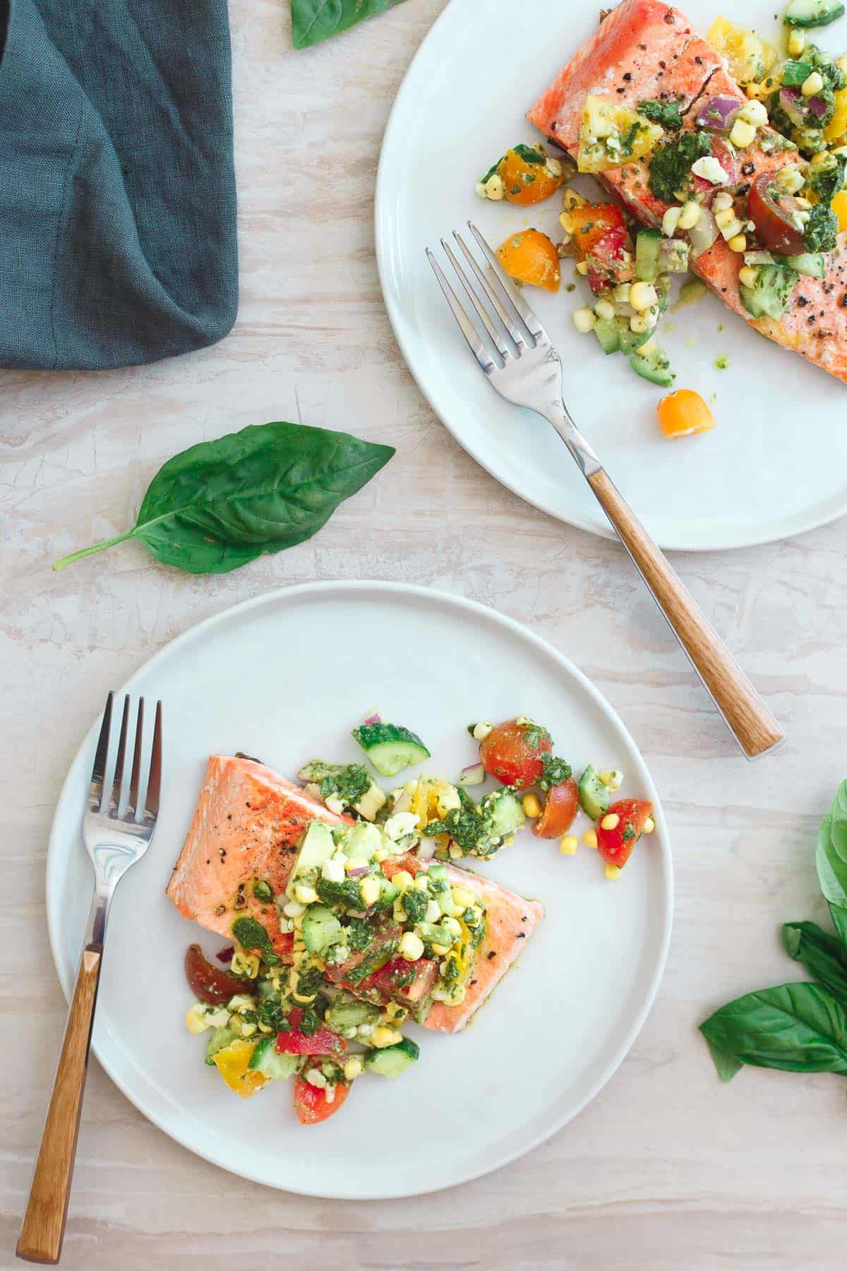 This seared salmon with tomato corn salsa is a quick, easy and healthy summer meal.