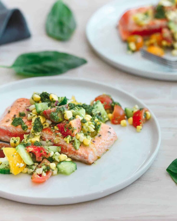 Seared Salmon with Tomato Corn Salsa