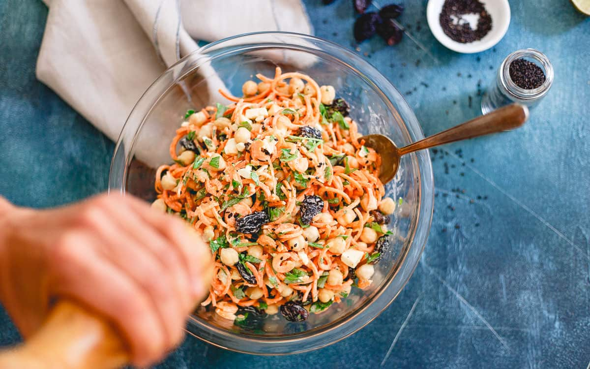 This creamy Mediterranean carrot salad is the perfect side dish to any grilled summer dinner.