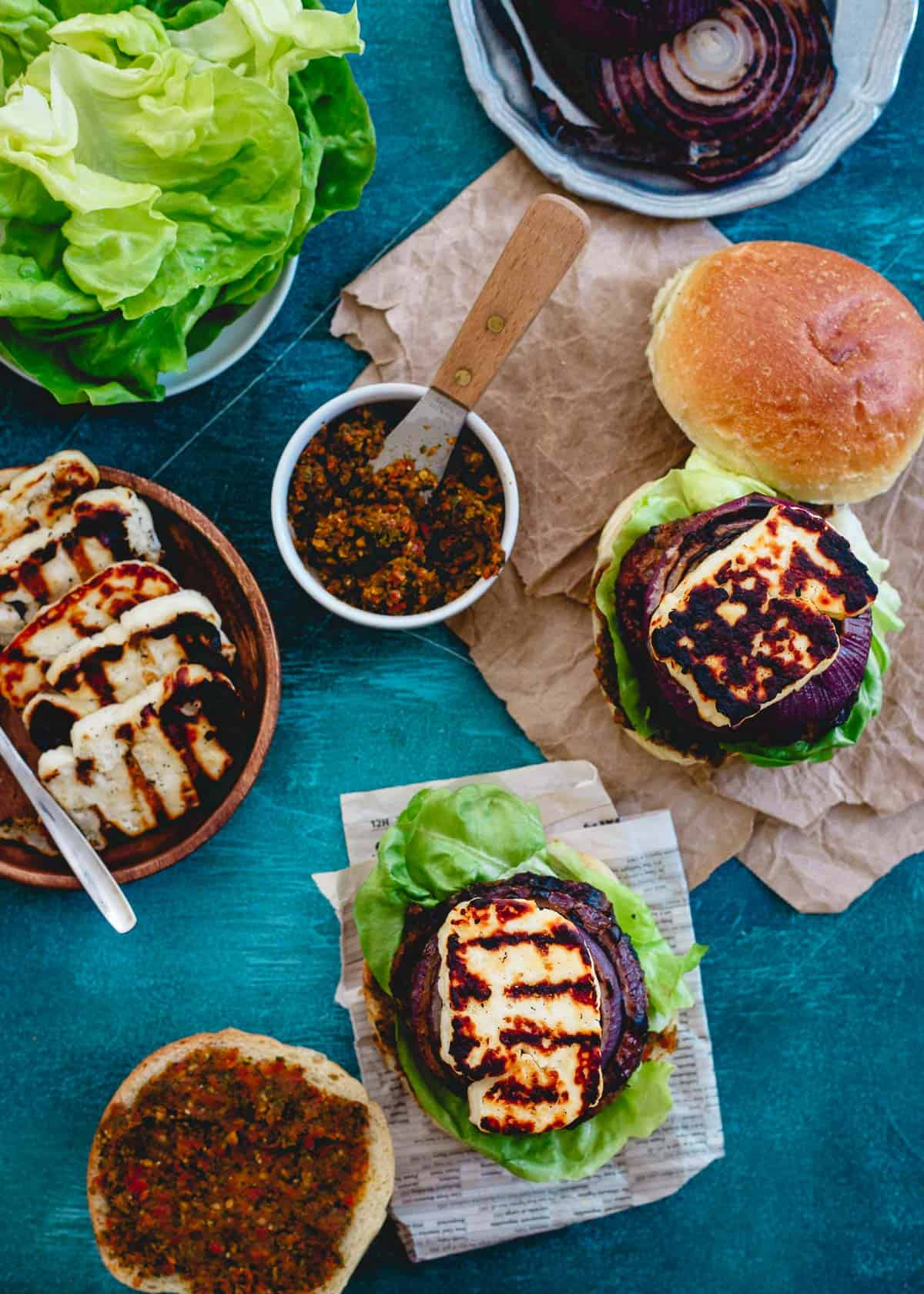Grilled halloumi cheese takes these lamb burgers over the top for a delicious grilled summer meal!