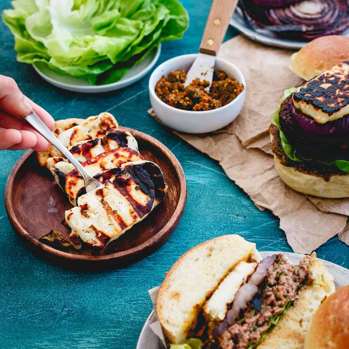 Add some grilled halloumi cheese to your lamb burger for a delicious salty savory bite.
