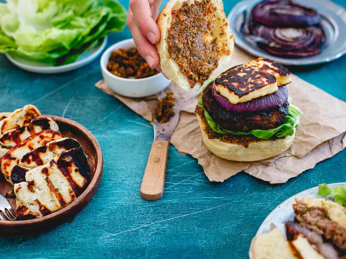 Switch up your burger game this summer with grilled halloumi lamb burgers for some Mediterranean flare.