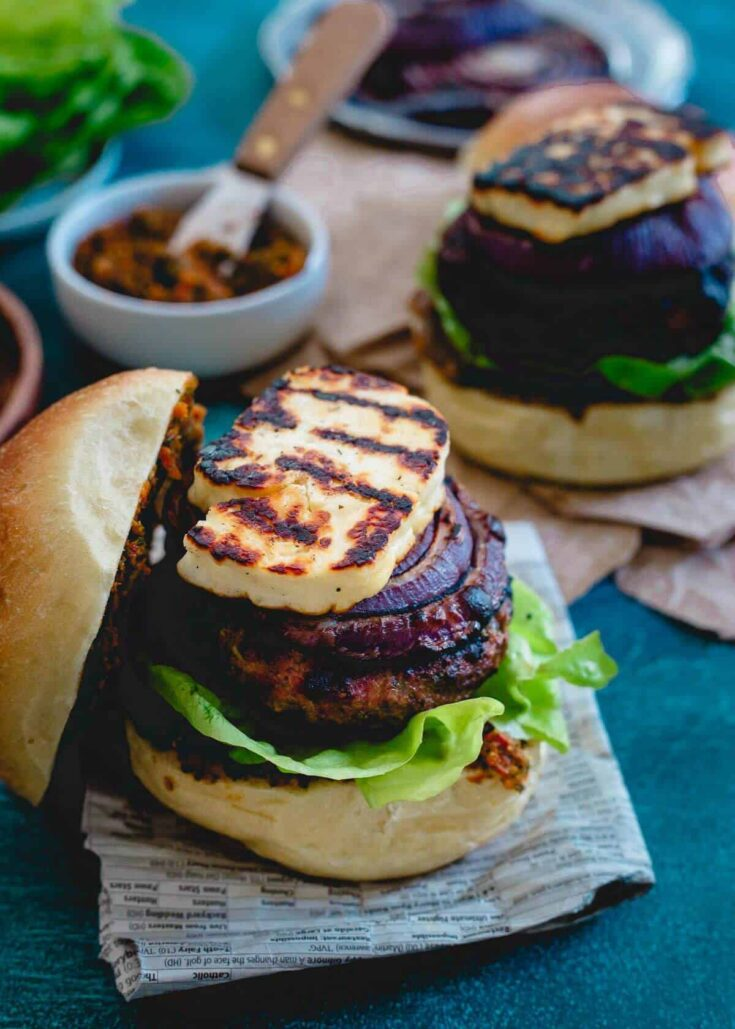 Grilled Halloumi Lamb Burger