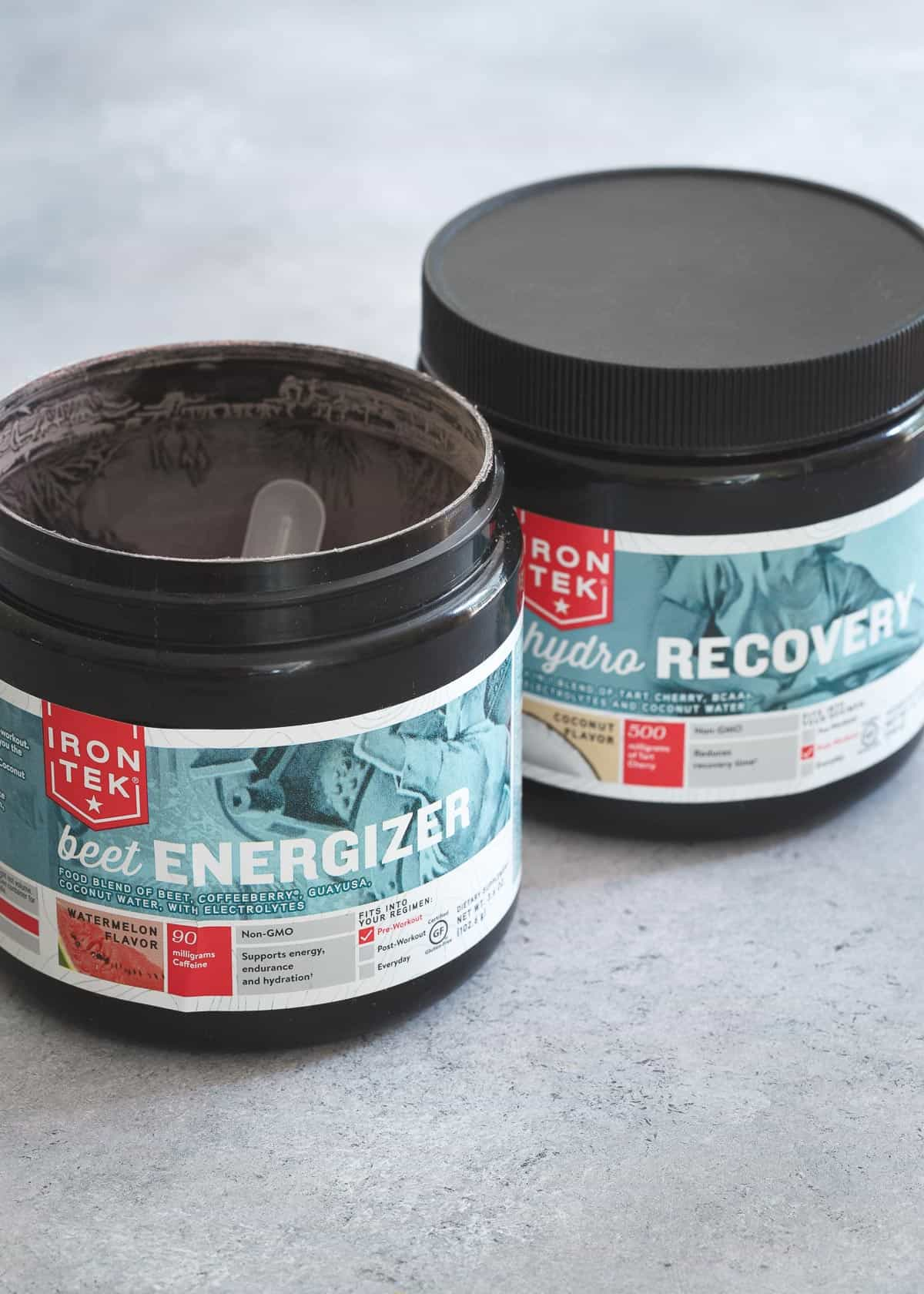 IronTek watermelon beet energizer and tart cherry coconut hydro recovery help to both boost your energy and recover faster from your workouts.