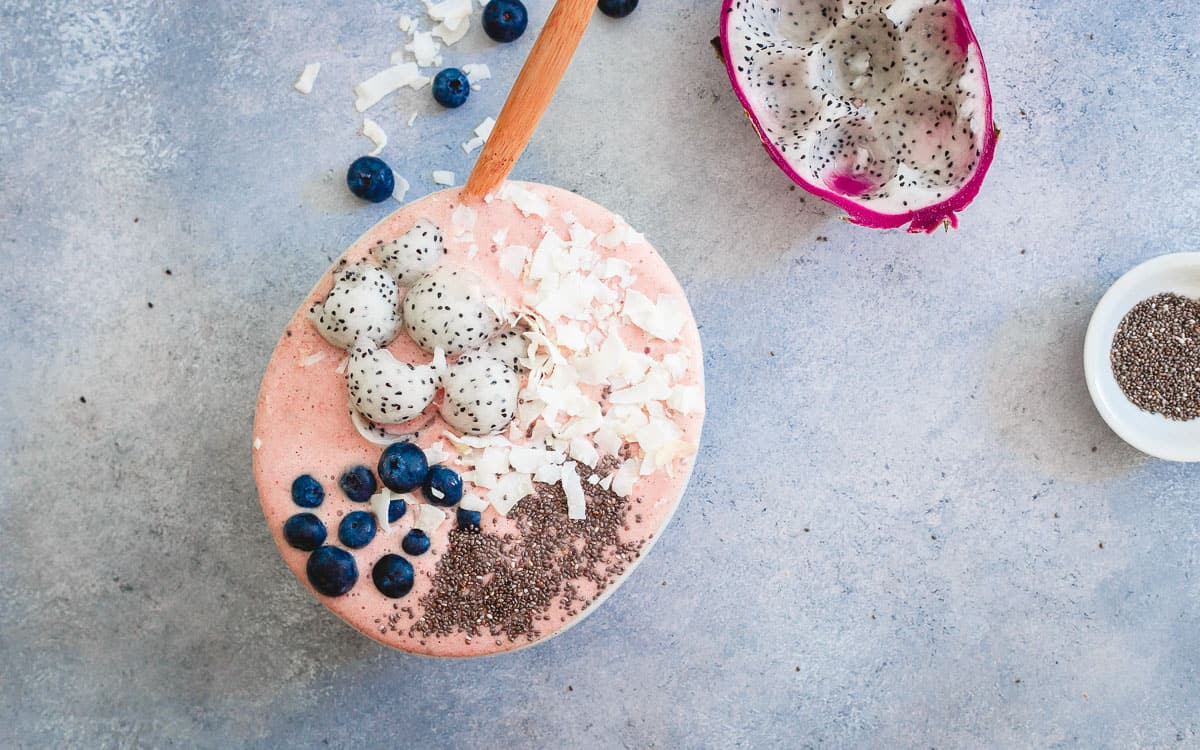 Use IronTek hydro recovery with anti-inflammatory tart cherries and coconut water in this recovery smoothie bowl for a tasty way to recover from a tough workout.