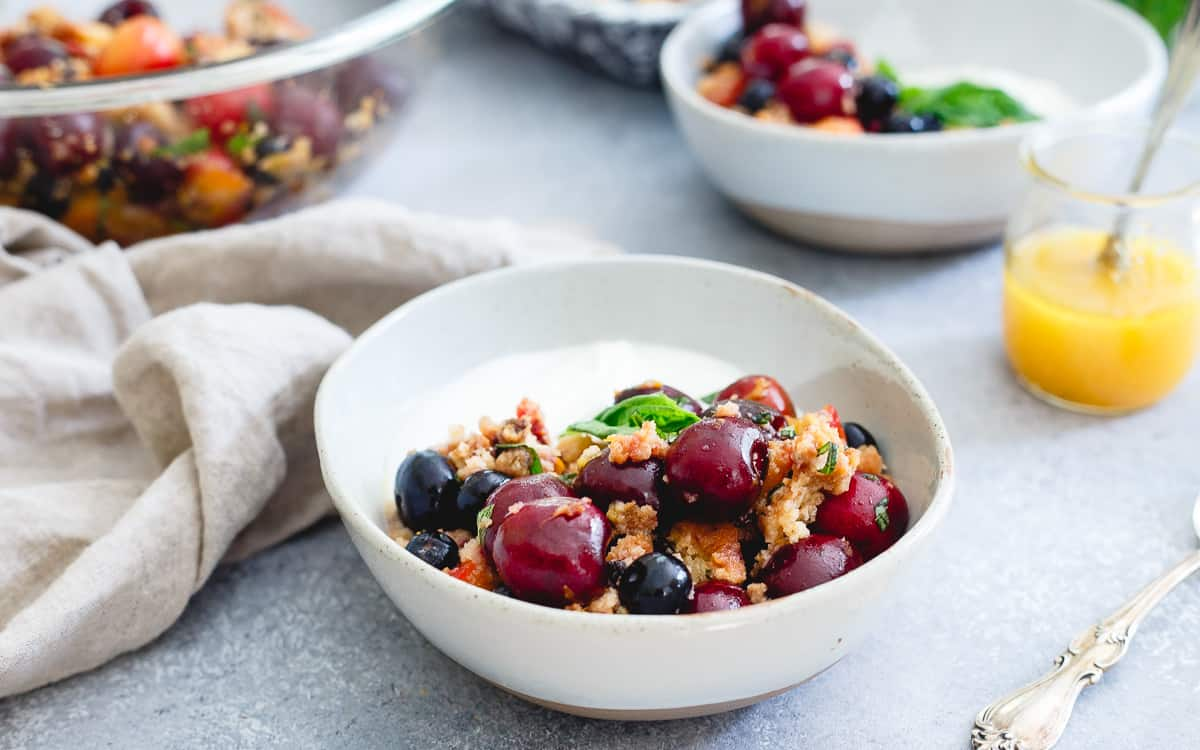 Filled with cherries, blueberries, grilled nectarines and toasted blueberry muffin pieces, this summer panzanella salad is an easy, simple way to enjoy summer fruit.