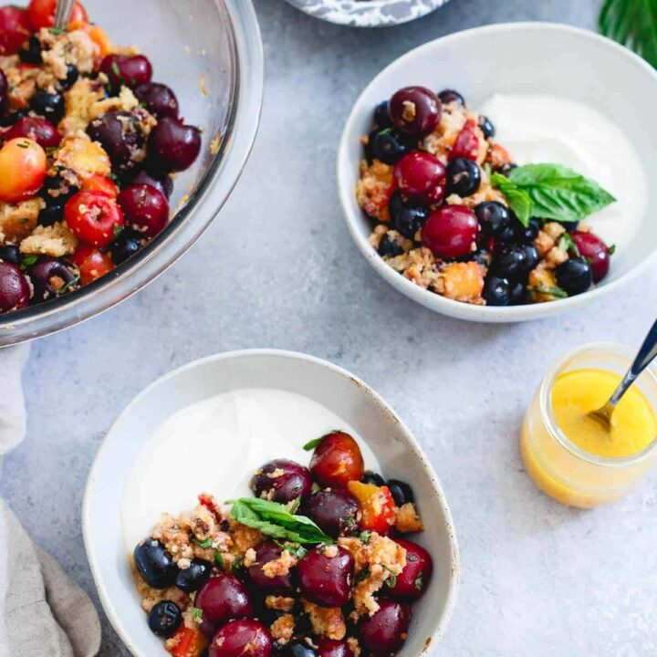 This summer fruit panzanella is full of sweet, ripe cherries, blueberries, grilled nectarines, toasted gluten-free blueberry muffins and a sweet citrus dressing. Spoon over yogurt, vanilla ice cream or eat as is for a light, summer-filled treat.