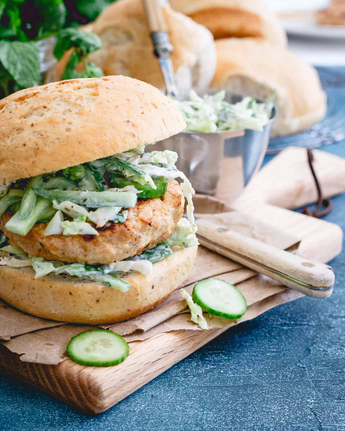 Try out these Indian chicken burgers for your next burger night. Simple, healthy, gluten-free and a great alternative to beef.