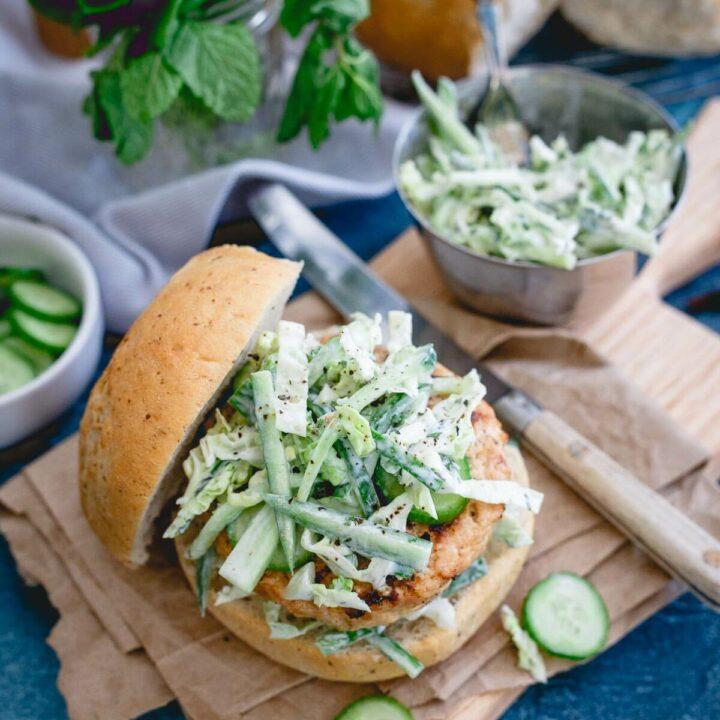 Indian Chicken Burgers with Yogurt Cucumber Slaw
