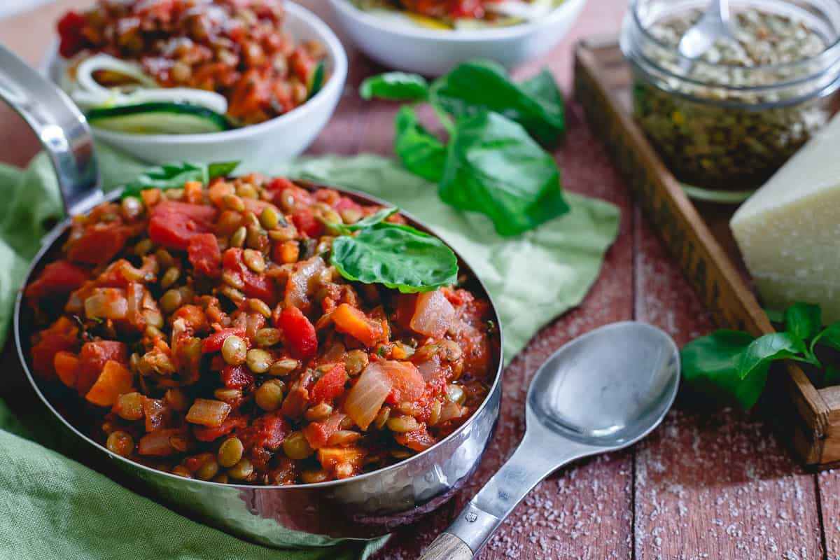 Lentil bolognese is a lighter, vegetarian option for the hearty Italian sauce. Goes great over summer squash noodles or your favorite pasta.