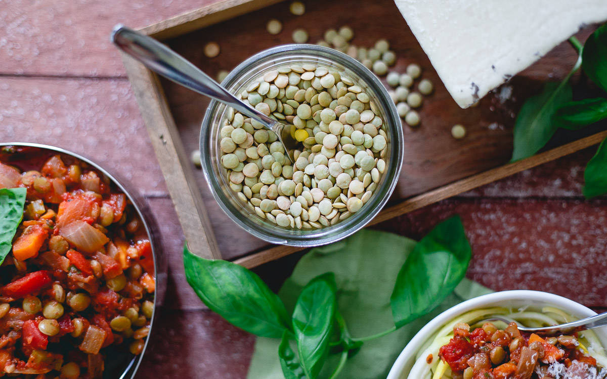 Lentils are fiber, protein and nutrient packed alternative to meat for a traditional bolognese sauce.