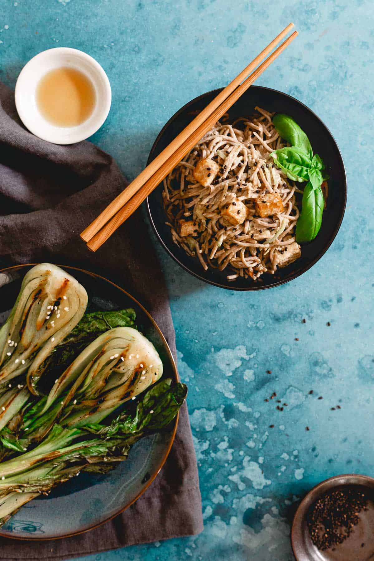 Soba noodles in peanut sauce is a quick and easy vegetarian lunch.