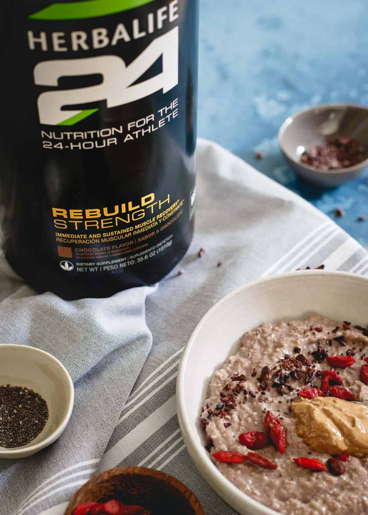Using Herbalife's Rebuild Strength protein powder blend, this bowl of chocolate protein oat bran is the perfect way to recover after your workout.