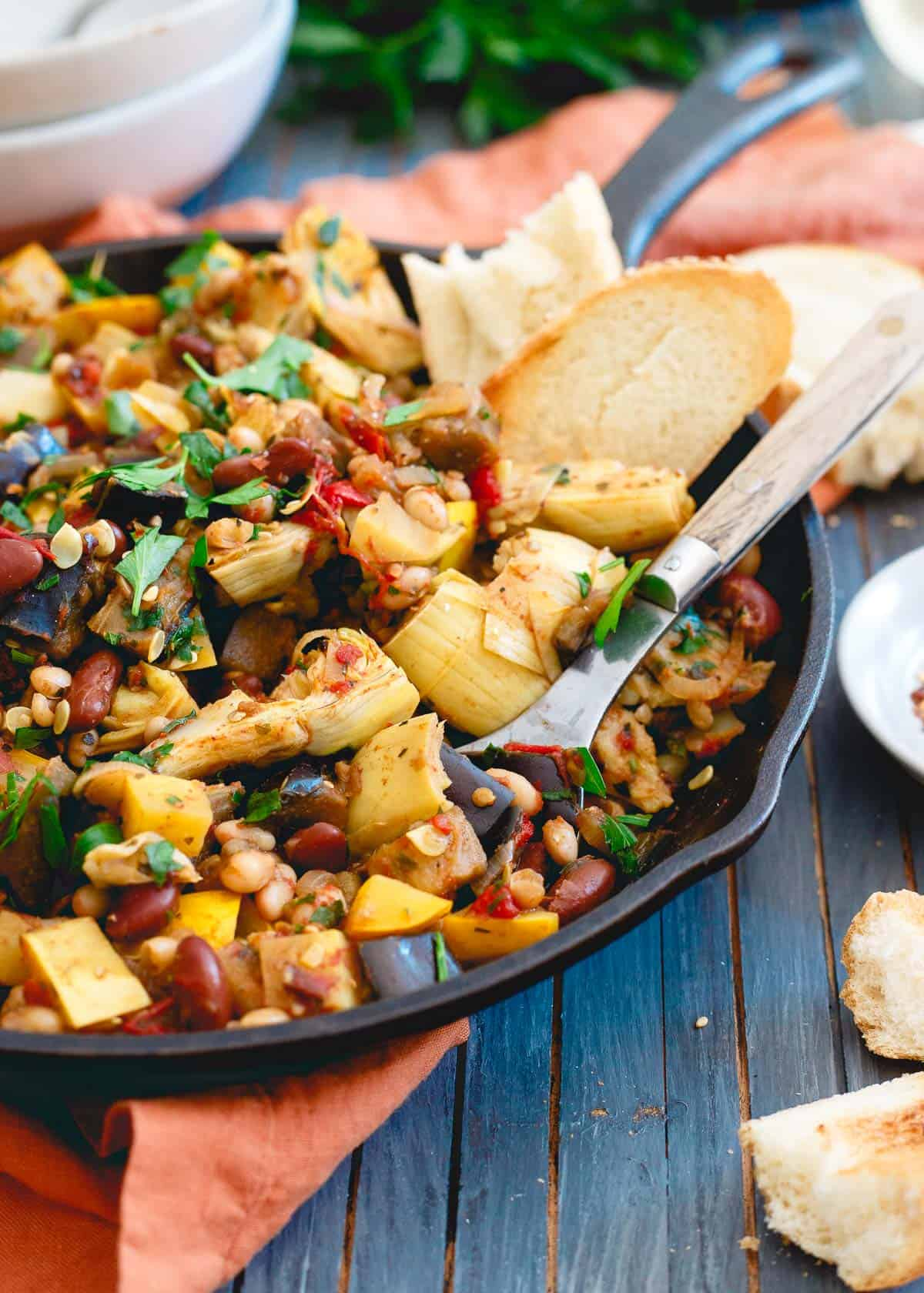 This meatless meal is bursting with delicious end of summer vegetables like squash, tomatoes and eggplant.