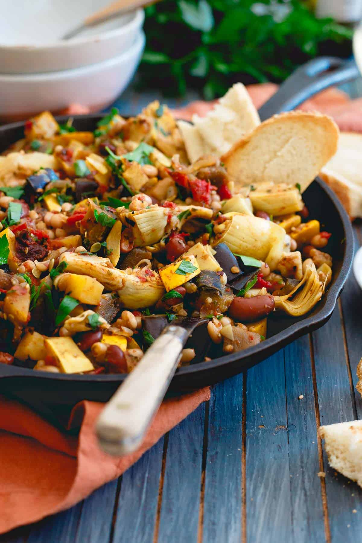 Use up all those summer garden vegetables in this easy skillet dinner.