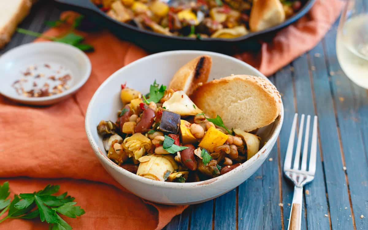 Beans give a hearty protein boost to this easy end of summer vegetable skillet.