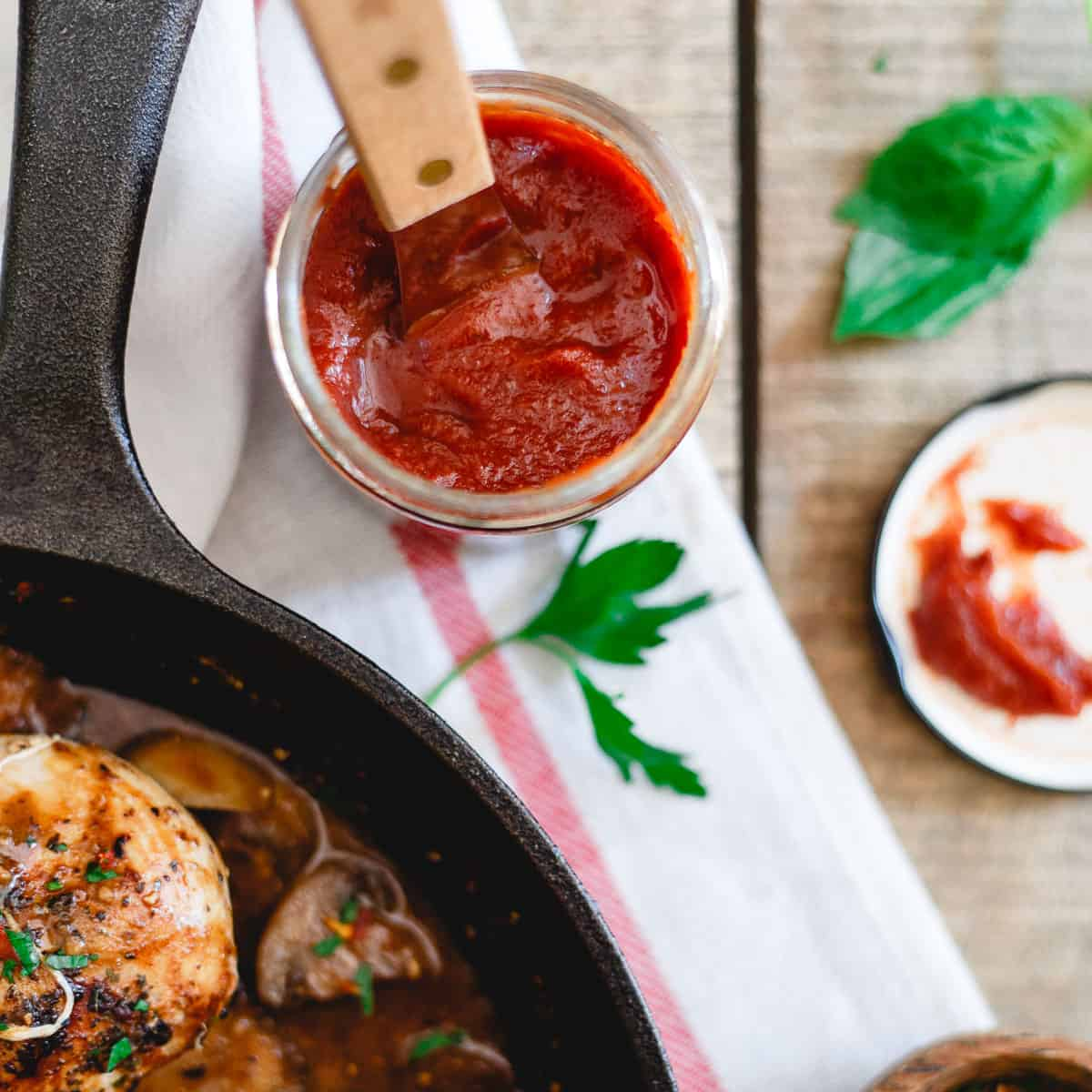 Sweet and savory tomato butter is the perfect addition to this stuffed chicken marsala.
