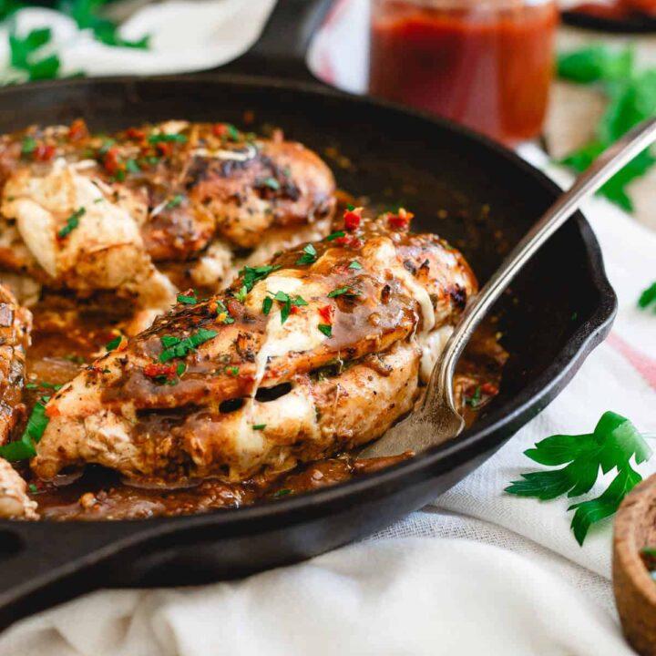 Tomato Butter Mozzarella Stuffed Chicken Marsala