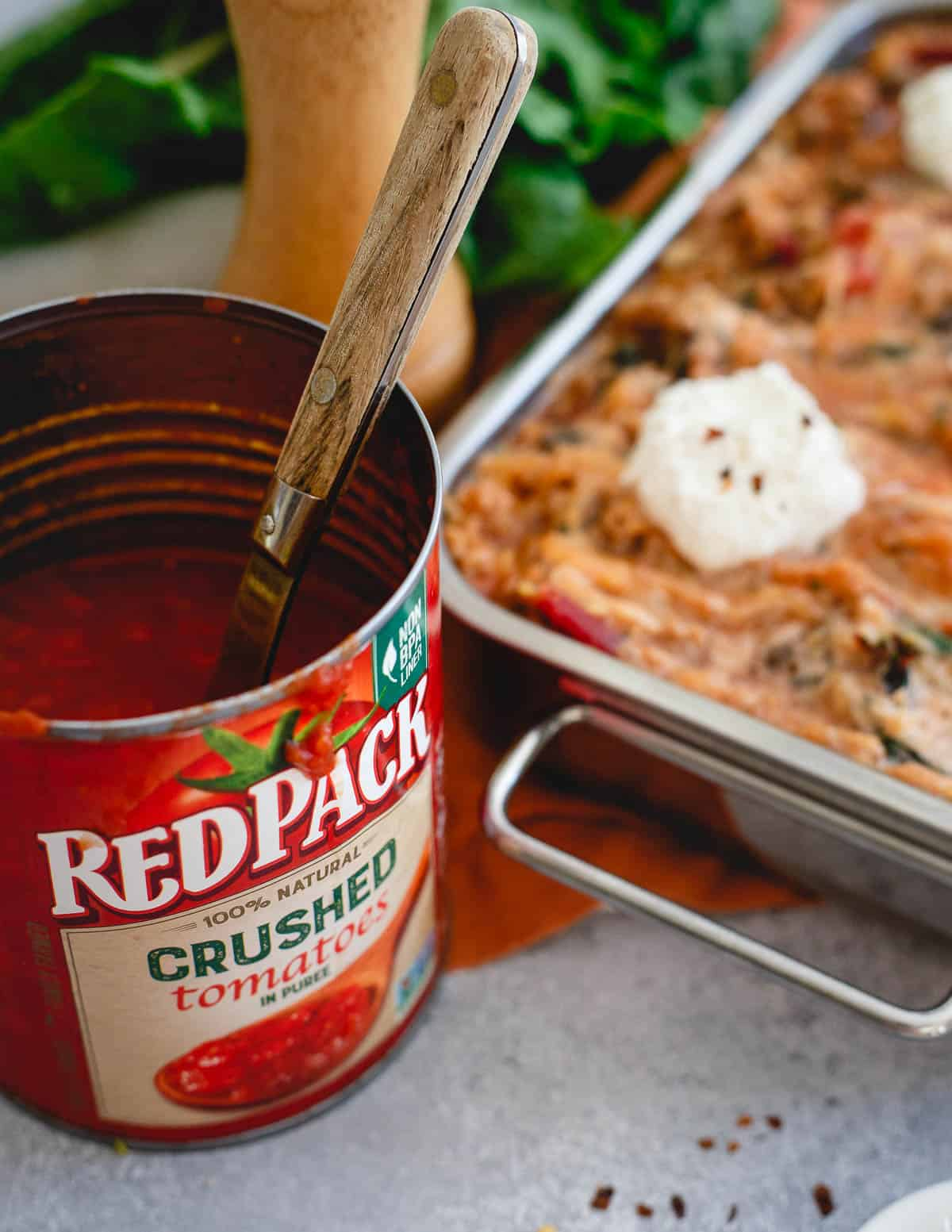 Redpack tomatoes help make this spaghetti squash baked ziti taste every bit as delicious as the real Italian dish.