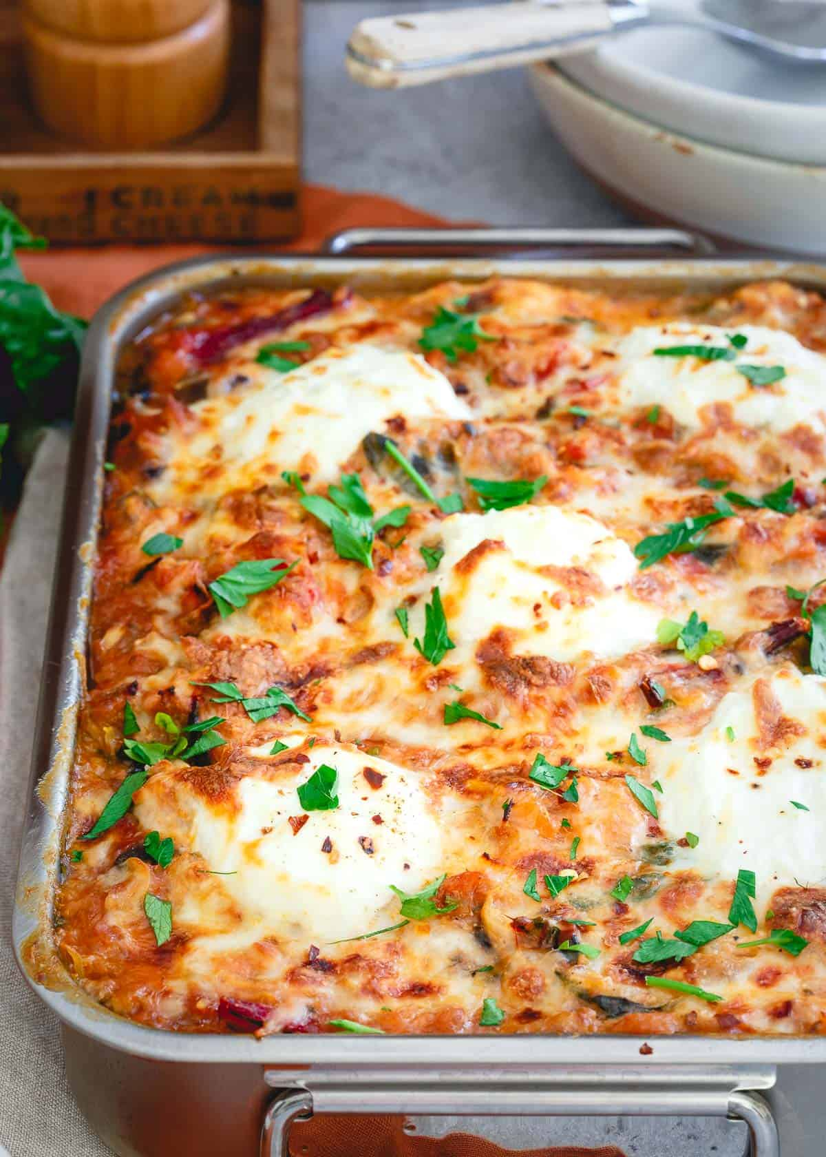Put a healthier spin on your baked ziti by using spaghetti squash as the noodles!