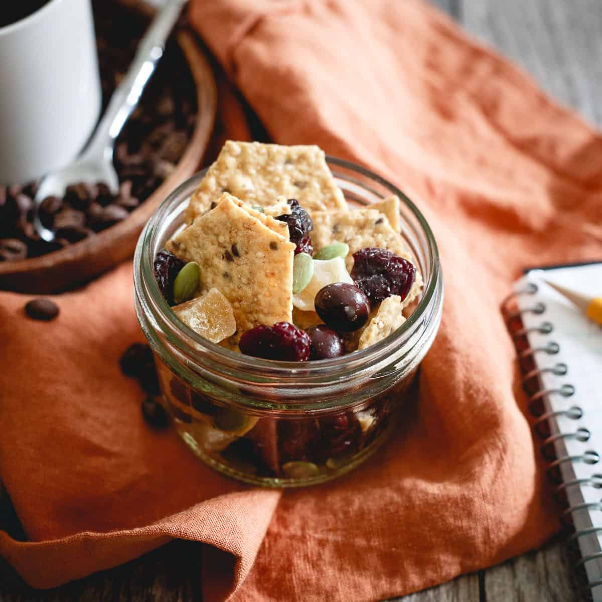 Throw together this easy coffee house cracker crunch trail mix for a quick snack fix while powering through that to-do list.
