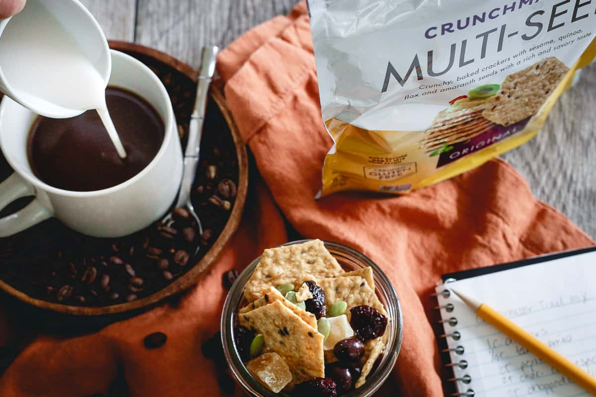 Crunchmaster multi-seed crackers are a great base for this savory and sweet trail mix snack.