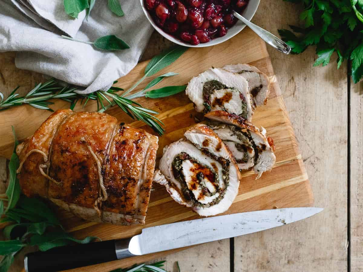 Tart cherry chestnut stuffed turkey roulade is a gorgeous holiday option when you don't want to cook a whole turkey!