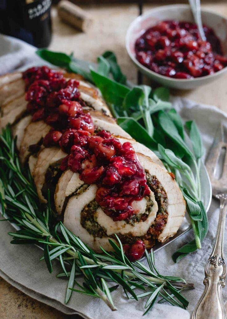 Tart Cherry Chestnut Stuffed Turkey Roulade with Red Wine Soaked Cherries