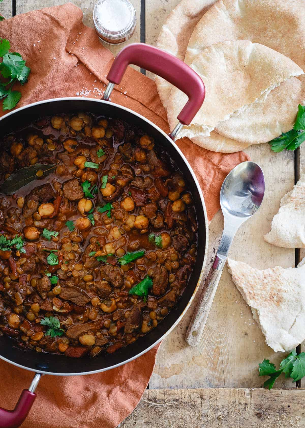 Cozy and comforting with flavorful Moroccan spices, this lamb lentil stew is a great winter meal for a cold day.