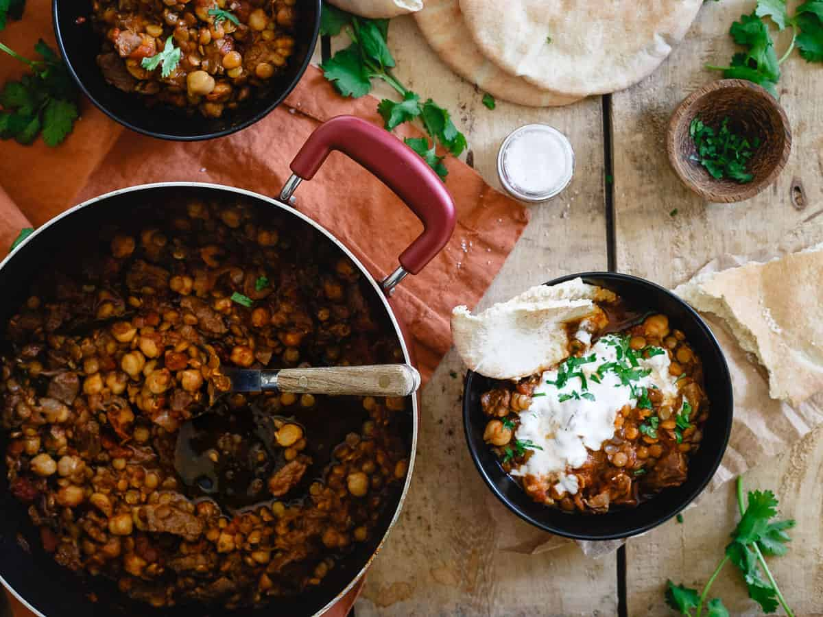 Lamb, lentils and chickpeas combine in this Moroccan inspired stew for a cozy one-pot meal perfect for wintertime.