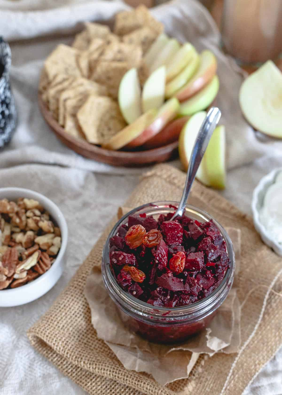 This beet apple chutney is infused with orange and lots of warming winter spices. A great spread on crackers, accompaniment to meat or even dolloped in yogurt!