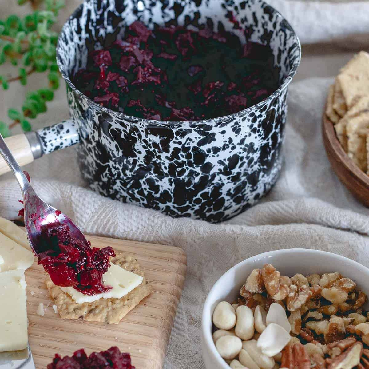 Orange and warm winter spices make this beet apple chutney a delicious addition to any appetizer spread.
