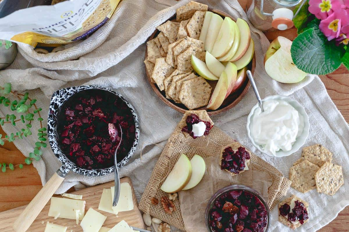 Serve this beet apple chutney with Crunchmaster crackers, your favorite cheese, yogurt, apple slices and nuts for a lovely winter appetizer spread.