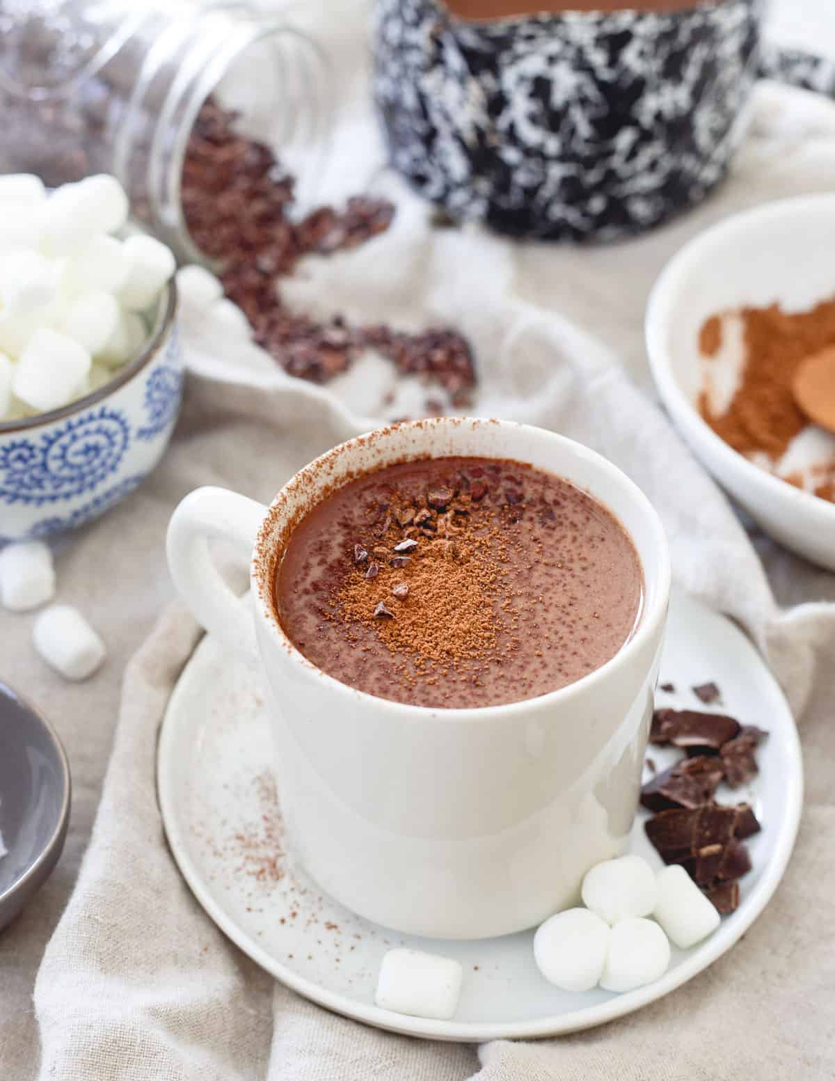 Reap the rewards of the powerful tart cherry with a warm mug of this tart cherry hot chocolate!