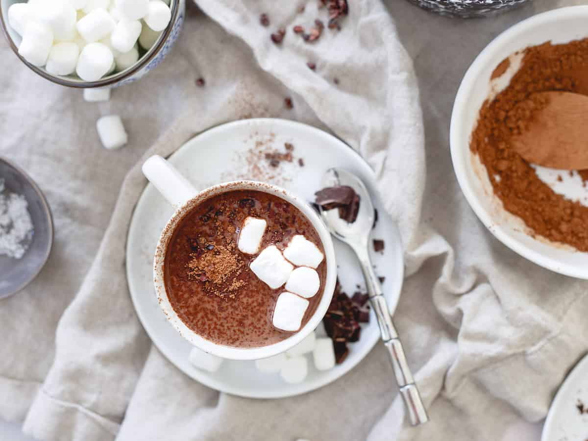With studies showing tart cherries to help aid in muscle recovery and a better night's sleep, enjoying a mug of this tart cherry hot chocolate is an easy decision!