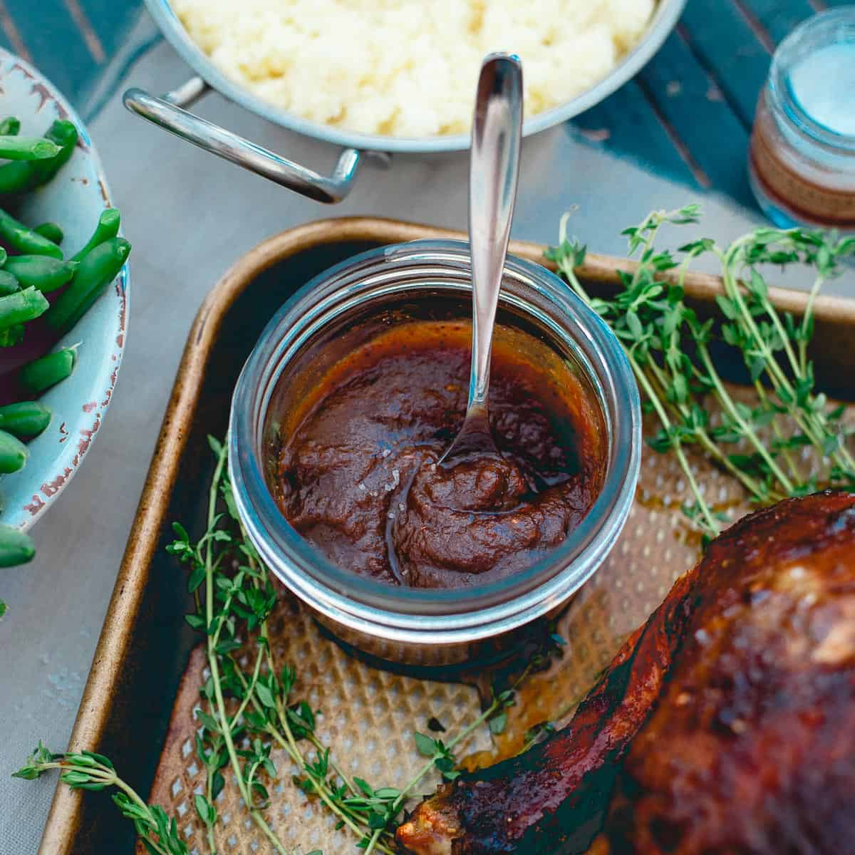 Apple butter with a few savory spices added makes a delicious sauce for a roasted chicken dinner.