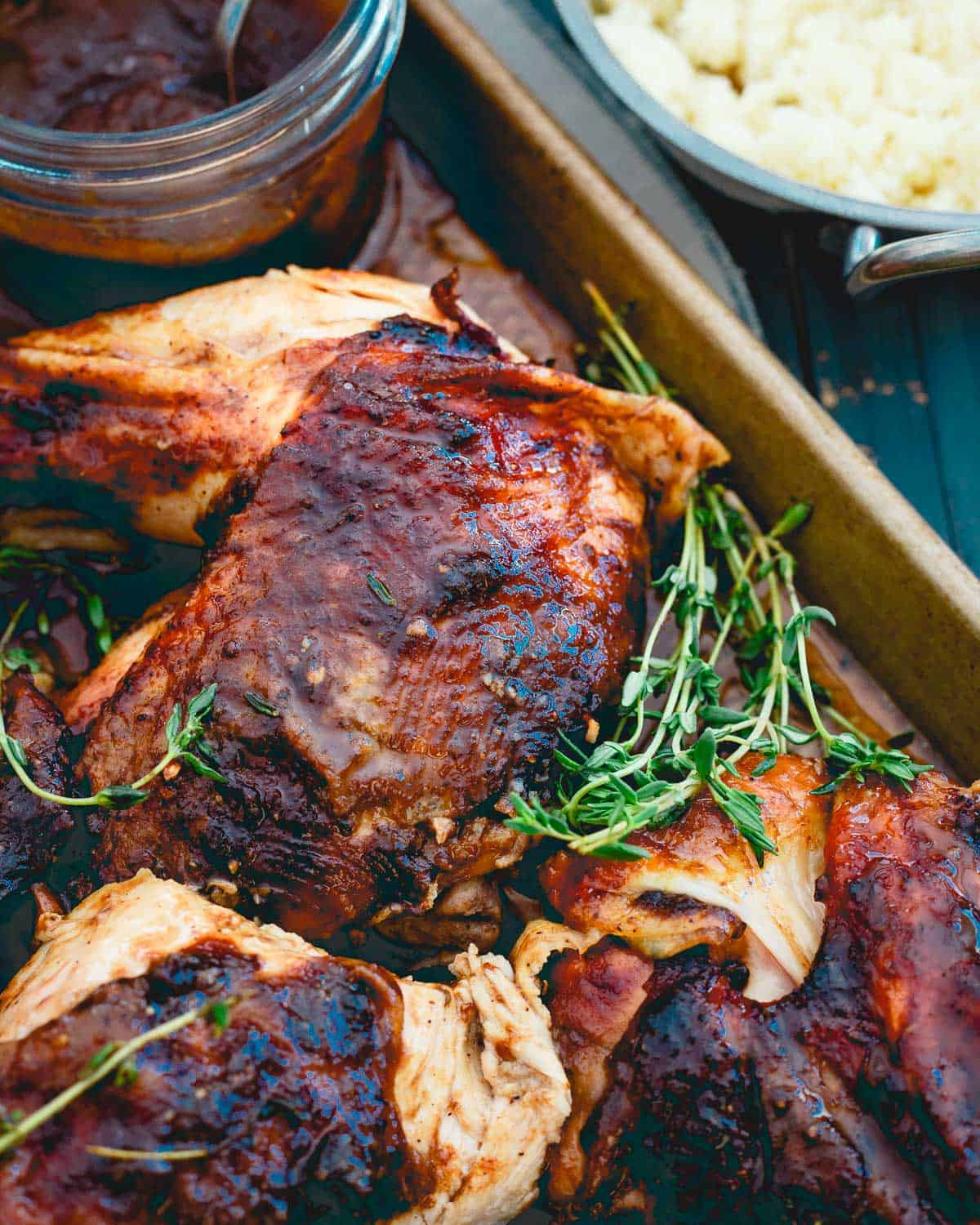Upgrade your roasted chicken with a sweet and savory apple butter glaze!