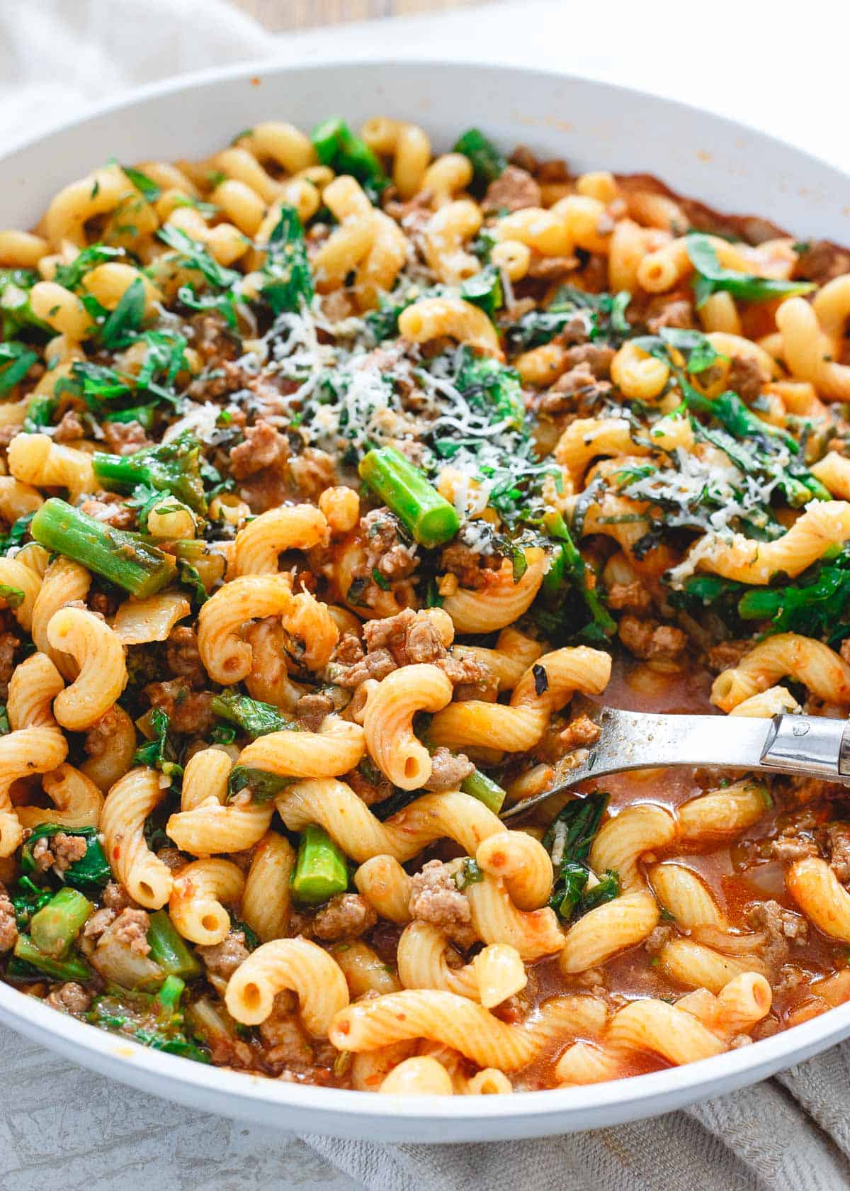 Filled with broccoli rabe, cavatappi pasta and American lamb, this lamb ragu is an easy skillet dinner perfect for the early weeks of spring.