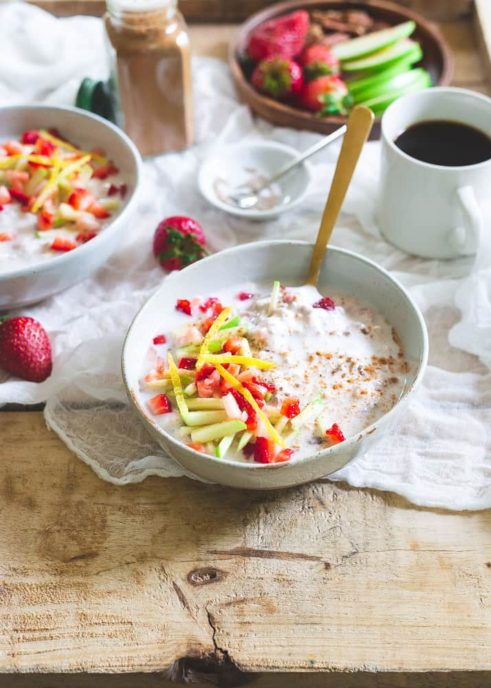 Strawberry lemon overnight muesli is a delicious, hearty, bright spring breakfast packed with healthy fiber. Assemble everything the night before and have breakfast waiting for you in the morning when you wake up.
