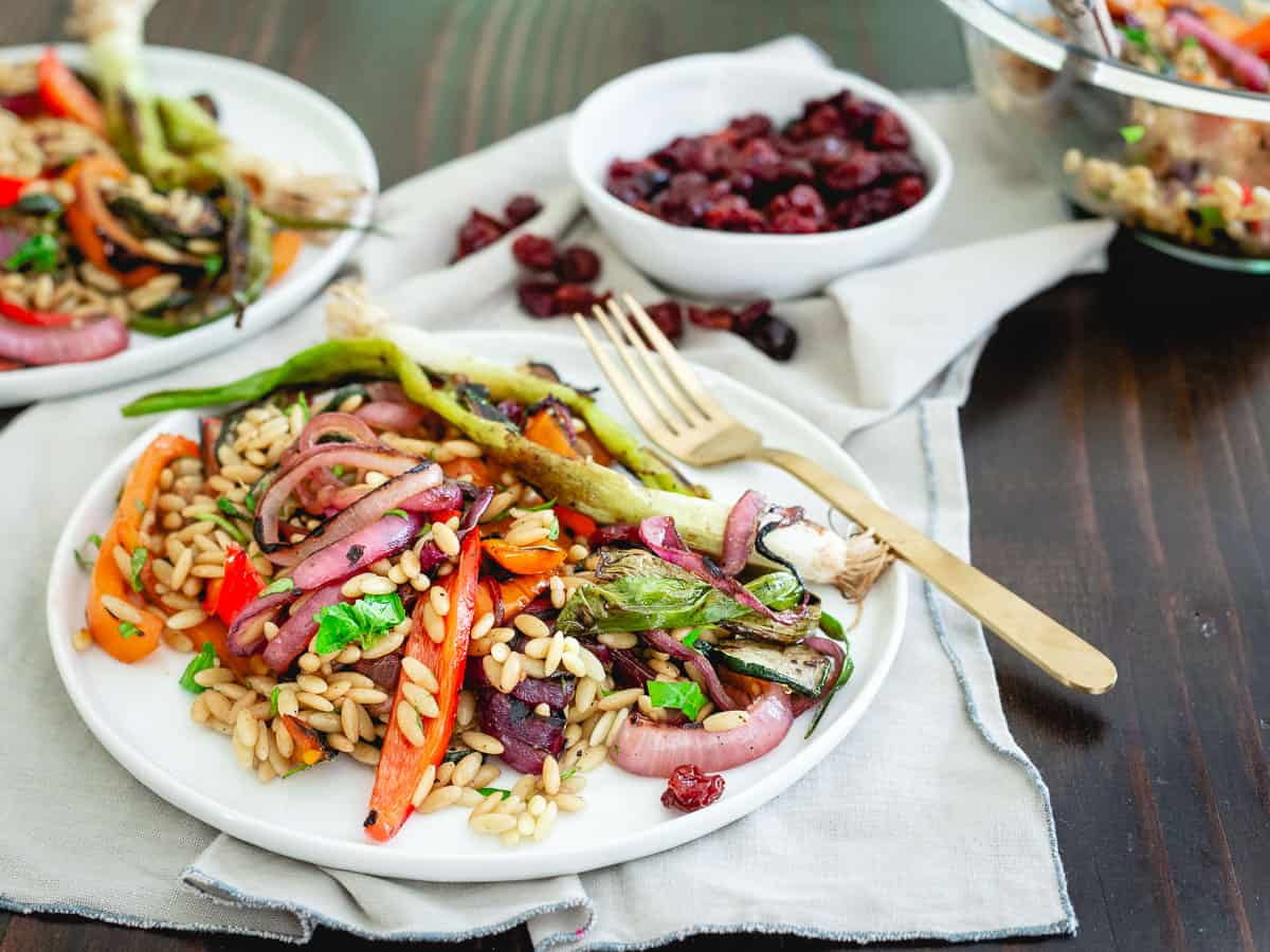 Tart cherry balsamic glazed grilled summer vegetables, orzo and sweet and sour dried tart cherries are a great twist to your summer pasta salad!