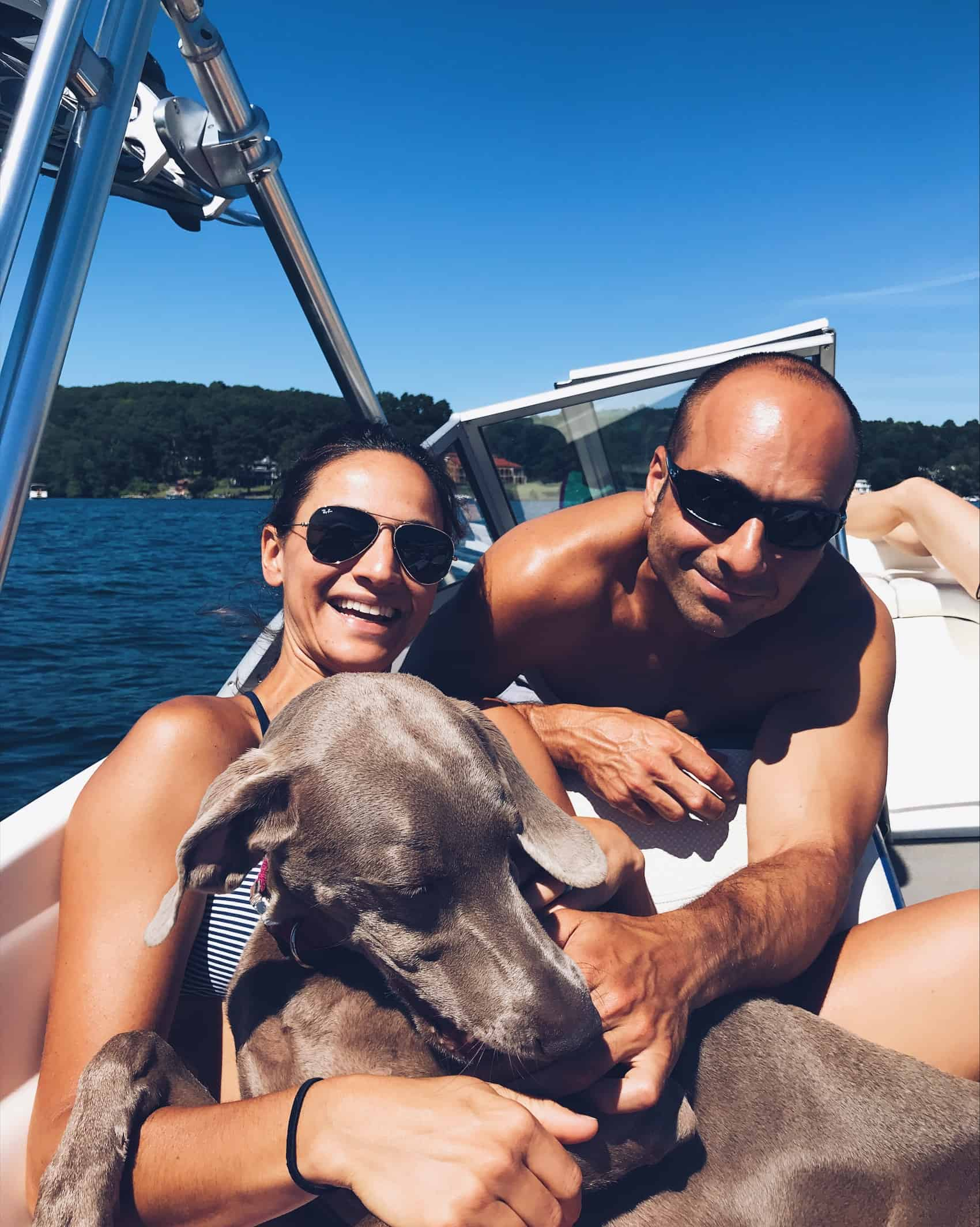 Weimaraner on a boat in Lake Mahopac, NY