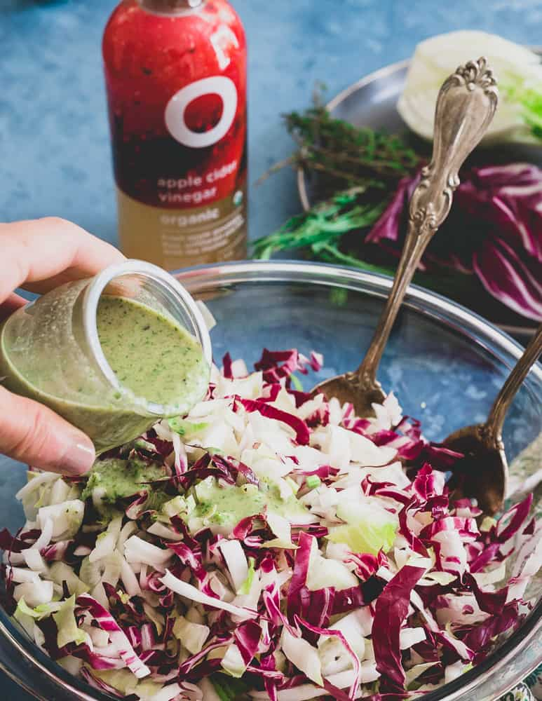 Tangy apple cider vinegar makes this herb dijon dressing the perfect accompaniment for the refreshing radicchio, endive and fennel in this healthy salad.
