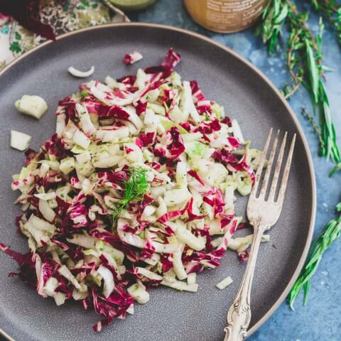 Radicchio Endive Fennel Salad with Tangy Dijon Herb Dressing