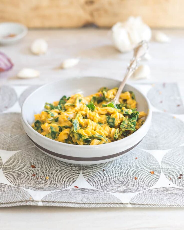Creamy Pumpkin Garlic Pasta with Tuscan Kale